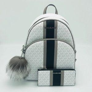 3PCS Michael Kors Abbey Large Backpack Wallet Set